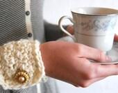 Crochet Cuff with Vintage Button - Cream
