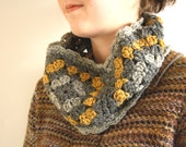 Cozy Granny Square Cowl - Yellow, Grey, Charcoal