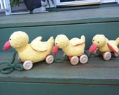 Three Little Ducks That I Once Knew--Cotton Knit Pull Toy Ducks