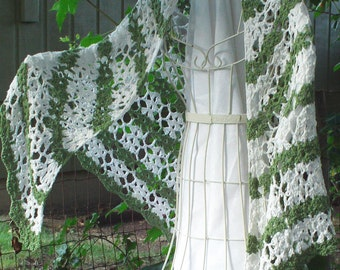 Eco-friendly green and white cotton SHAWL