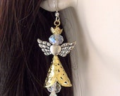 Silver and Gold Christmas Angel Earrings