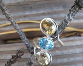 Vintage Blue Topaz and Citrine Sterling Silver Cocktail Ring, size 8, free shipping