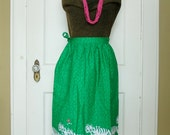 Vibrant Vintage Green and Pink Wrap Skirt Apron Tiger and Bird Hi-Tiger