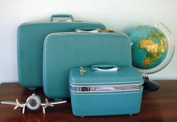 Large Samsonite Biscayne Blue Luggage Suitcase Teal Turquoise