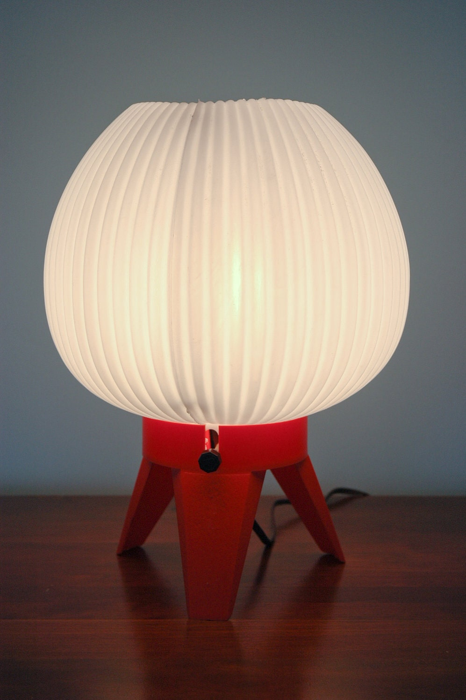 Retro Red Orange Bedside Lamp
