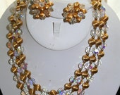 Necklace and Earrings Demi Parure Bergere NY Glass and Metal Beaded