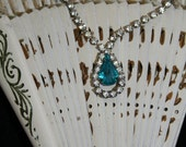 Necklace Sapphire and Rhinestone Teardrop Pendant Necklace