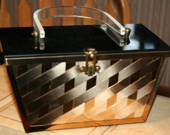 1950's Brass Basketweave Lucite Purse Reduced Price Free Domestic Shipping First Class