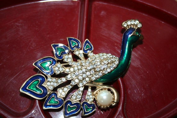 Peacock Brooch/Pin Large, Enameled and Rhinestone Studded Beautiful