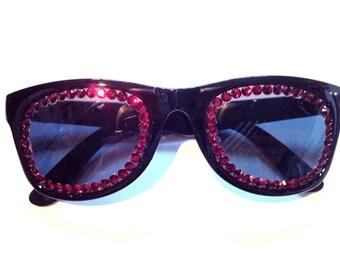 Red & Black Swarovski Non Prescription Sunglasses
