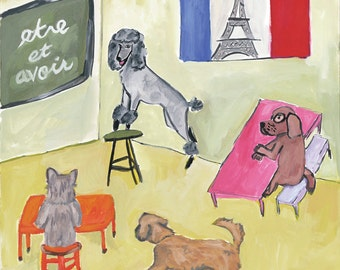 Dogs in French Class,  original art print