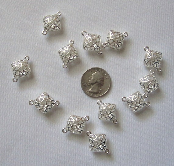 Destash--silver plated two loop diamond beads--12 pcs