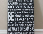 Family Rules Sign III Wood Sign - Distressed Black and White