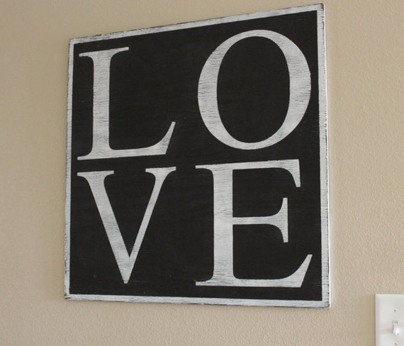 """LOVE - Large Rustic Wood Sign 24""""X24"""""""