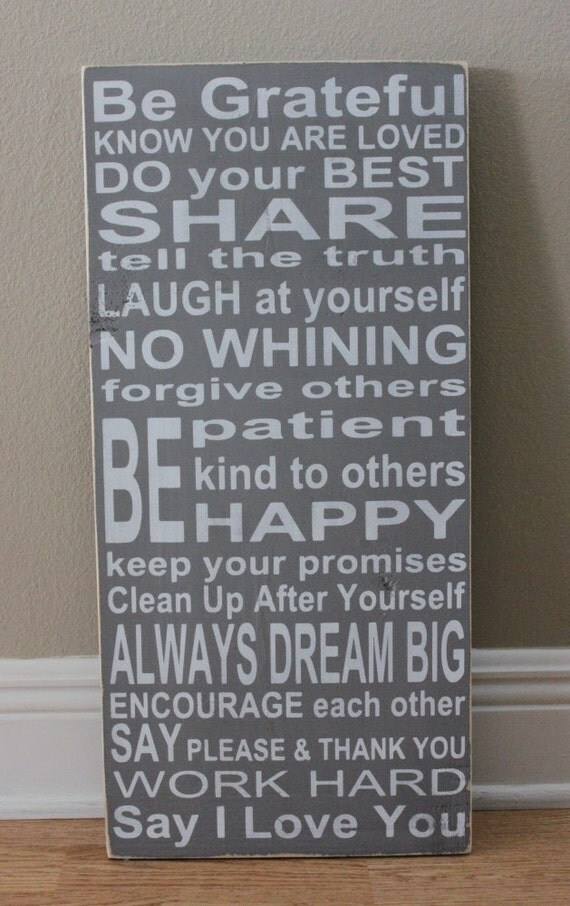 Family Rules Sign III Wood Sign - Distressed Grey and White