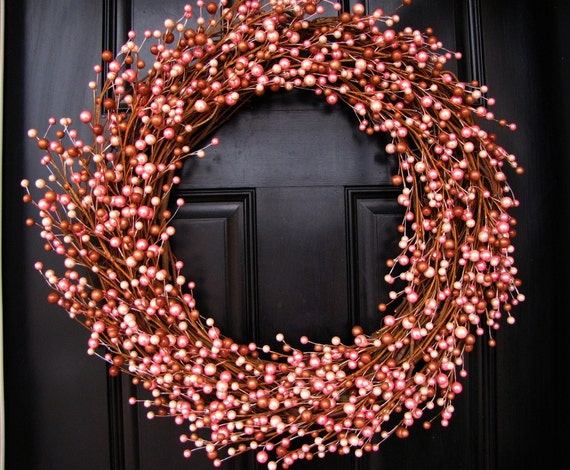 Year Round Berry Wreath - Warm Hot Chocolate Topped with Pink Marshmallows Wreath -SALE