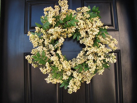 Cream Berry Wreath, Year Round Wreath, Wedding Decor, Simple Berry Wreath Collection, FREE Wreath Hanger with Any Purchase