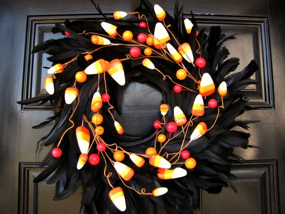 Halloween Black Feather Wreath- Candy Corn Galore -