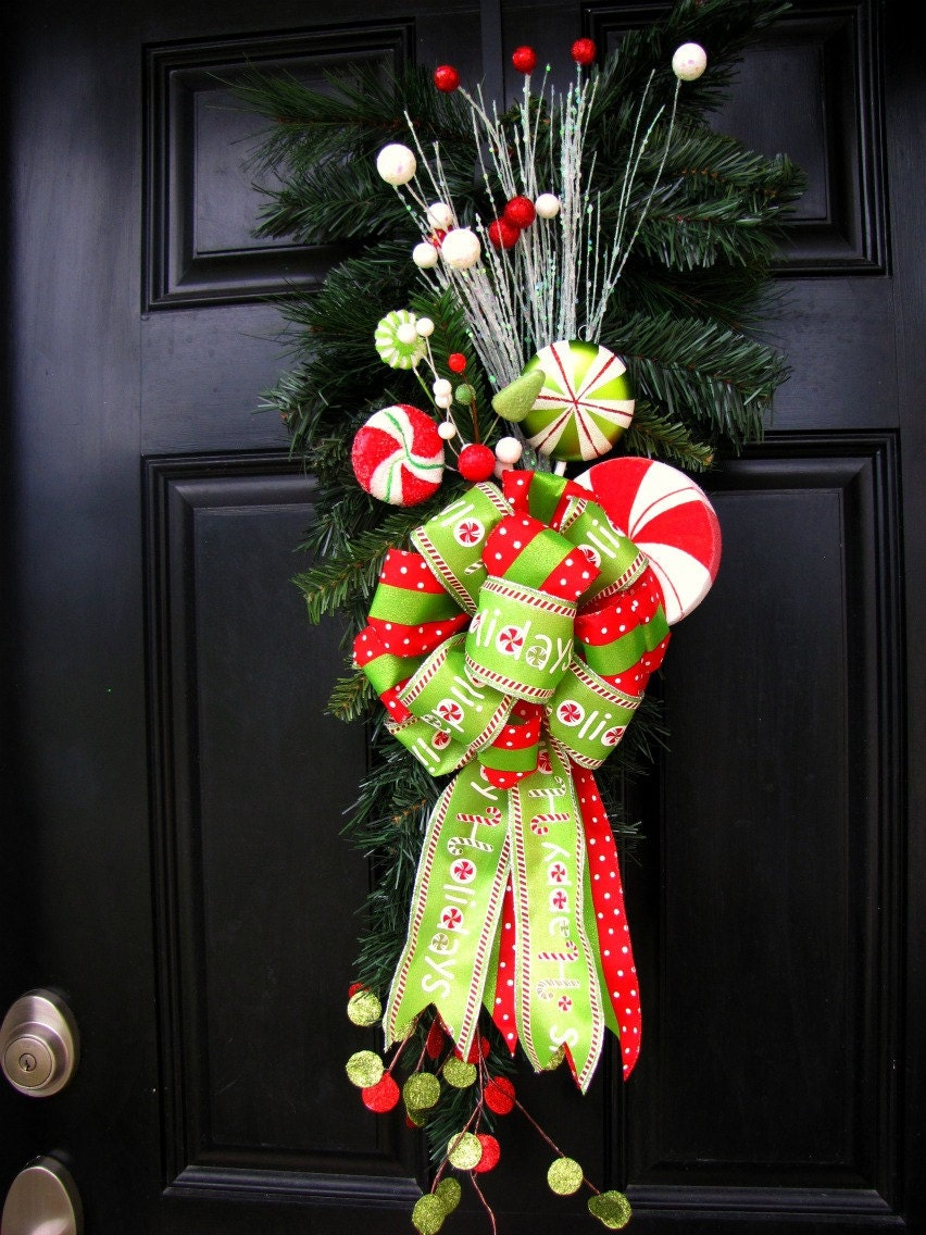 Clearance Sale Christmas Wreath Swag For Front Door With Candy