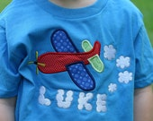 personalized appliqued embroidered airplane shirt tee for boys or girls sizes 18m - 6 boys