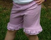 Lavender knit double ruffle shorts shorties sizes 18m - 14 girls