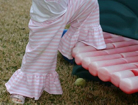 pink and white striped knit ruffle pants big ruffles sizes 12m - 14 girls
