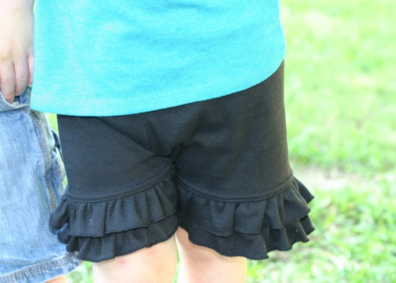 black knit double ruffle shorts shorties bloomers sizes 18m - 14 girls