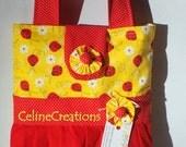 Girls Tote Bag Ladybug Ruffled