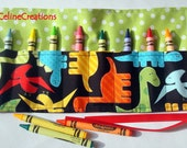 Crayon Roll Up Crayon Holder Colorful Dinosaurs On Black- Holds 8 Crayons