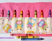 Crayon Roll Up Crayon Holder Owl Meadley - Holds 8 Crayons
