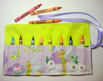 Crayon Roll Up Crayon Holder Tinker Bell - Holds 8 Crayons