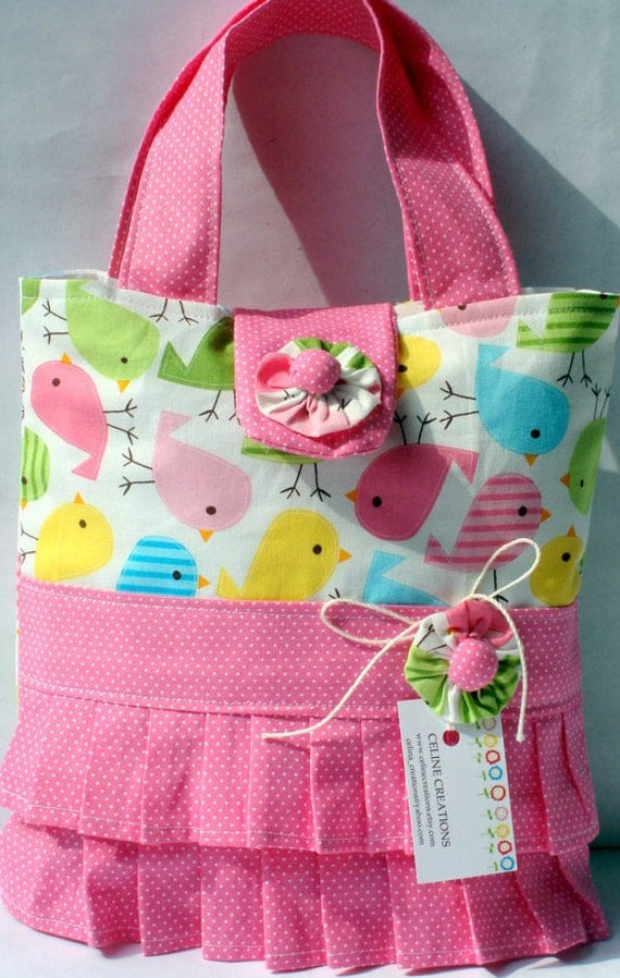 Girls Tote Bag Spring Birdies Ruffled