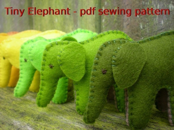 Elephant Template For Sewing Tiny Elephant Pdf Sewing