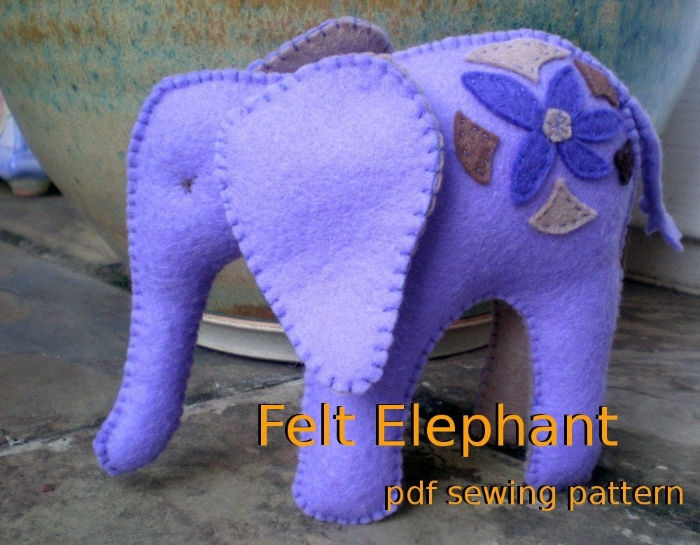 Felt Elephant pdf sewing pattern
