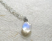 Hawaiian Rainbow. Rainbow Moonstone Everyday Delicate Sterling Silver Necklace.