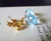 Cirrus. Sky Blue Topaz AAA 14k Gold Filled Stardust Ball Petite Earrings
