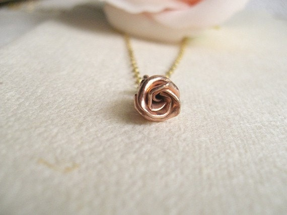 Blush. 24k Rose Gold Vermeil Rose Charm 14k Gold Filled Dainty Necklace.