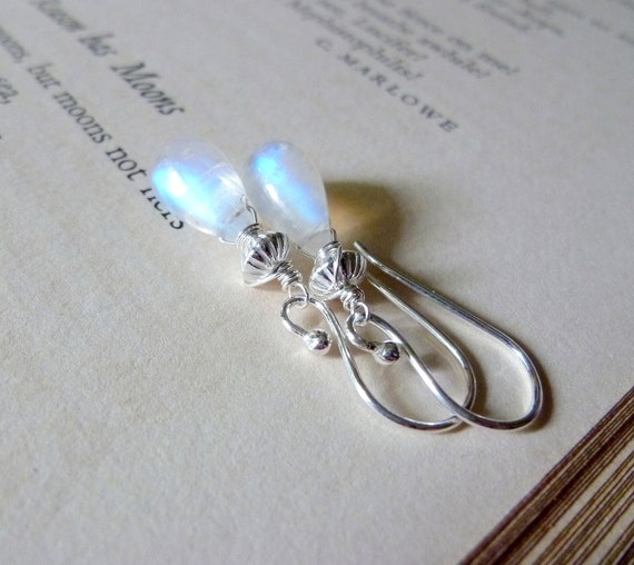 Luna. Rainbow Moonstone Smooth Tear Drops Sterling Silver Everyday Earrings.