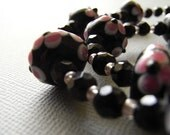 Daisy - lampwork black and pink glass with rock crystal necklace