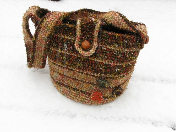 Large Retro Striped Purse Bag Tote With Shoulder Strap - Brown, Tan, Green, Orange, and Yellow