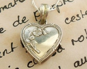 RESERVED for AMANDA French sterling silver heart locket , art nouveau.