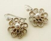 Vintage French silver filigree drop earrings for pierced ears
