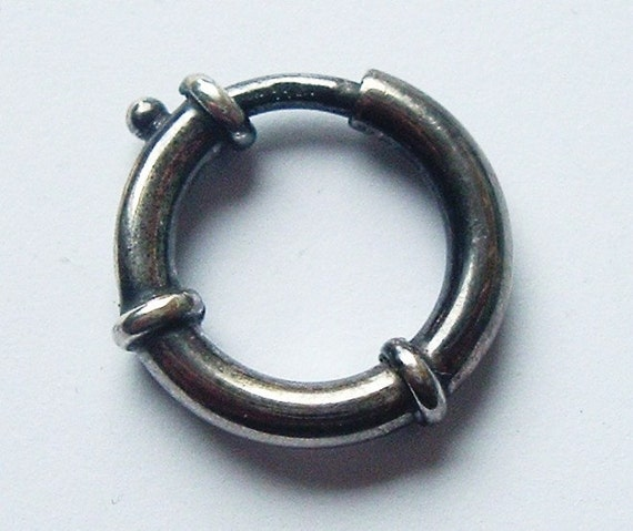 Book chain solid sterling silver large bolt ring clasp or connector for Victorian lockets.