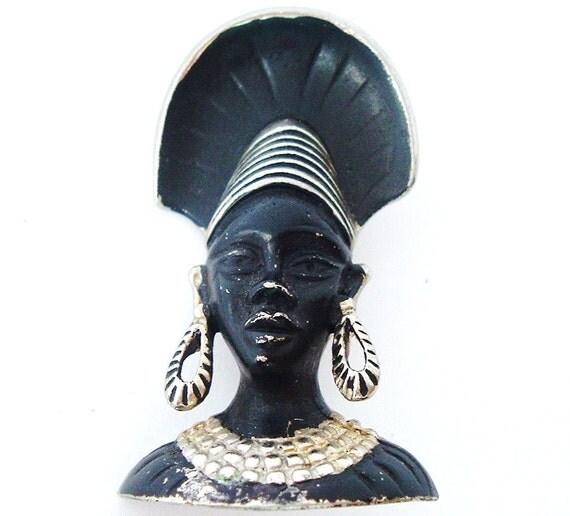 Retro Blackamoor brooch, African princess