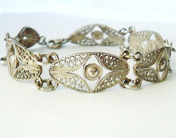 Vintage French silver plate filigree bracelet