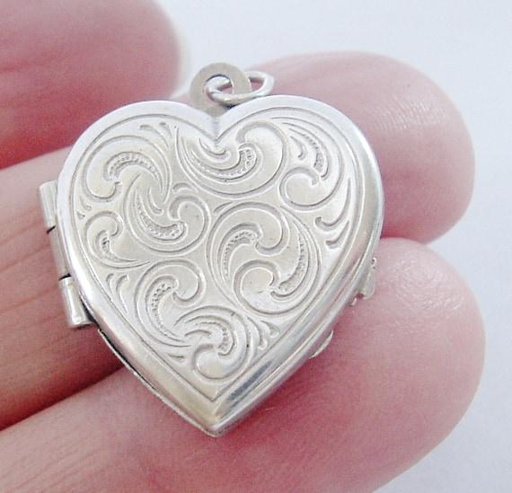 Vintage European 835 silver embossed heart locket