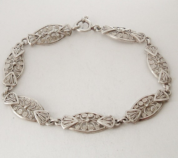 Art deco sterling silver filigree bracelet
