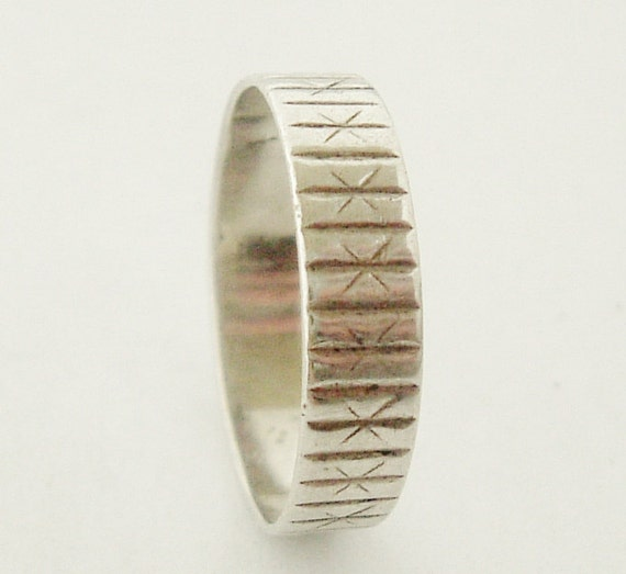 1970s French silver wedding band or stacking ring