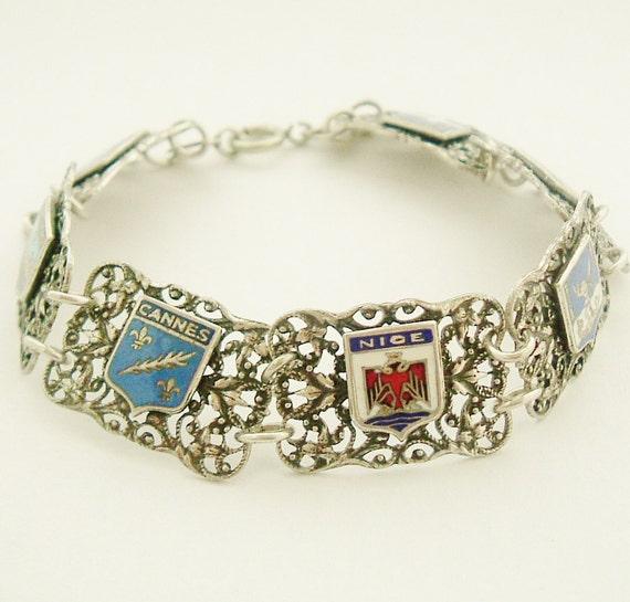 Vintage French enamel bracelet , south of France souvenir
