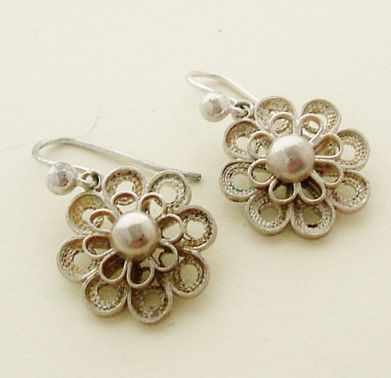 Vintage French silver filigree drop earrings for pierced ears